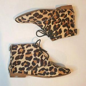 ZARA leopard print faux calf hair lace up booties